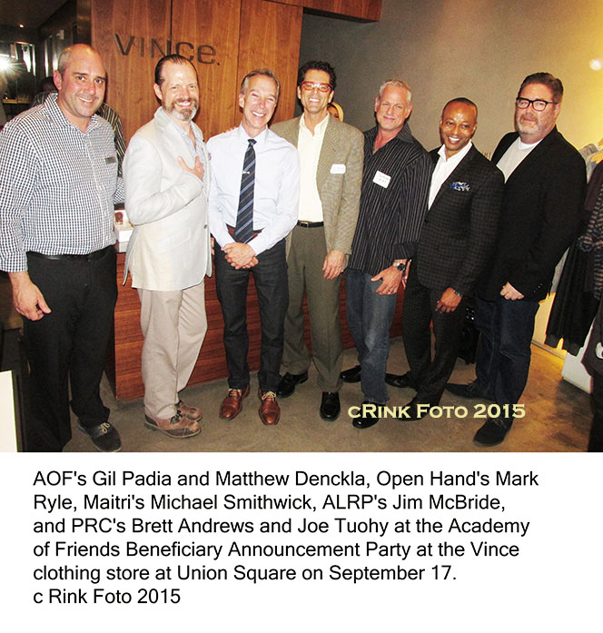 AOF's Gil Padia and Matthew Denckla, Open Hand's Mark Ryle, Maitri's Michael Smithwick, ALRP's Jim McBride, and PRC's Brett Andrews and Joe Tuohy at the Academy of Friends Beneficiary Announcement Party at the Vince clothing store at Union Square on September 17.
